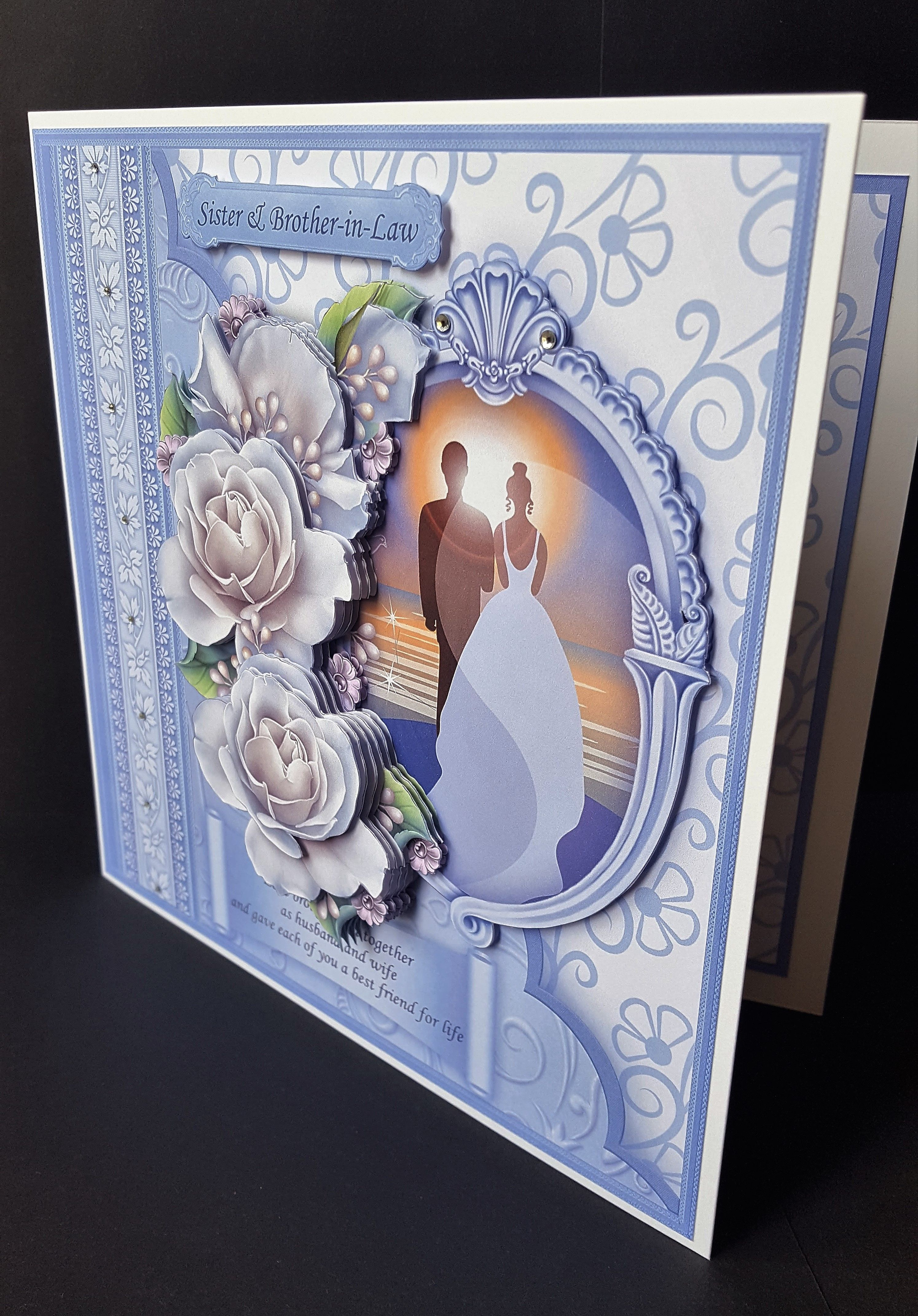 Wedding Anniversary Card Sister Brother In Law Front Handmade By Sheila Jones T Anniversary Cards Anniversary Greeting Cards Wedding Anniversary Cards