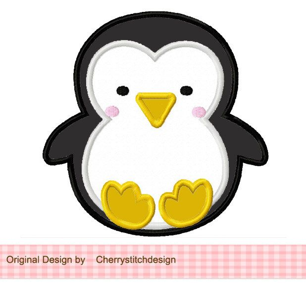 Baby Penguin Applique -4x4 5x7 6X10-Machine Embroidery Applique Design by CherryStitchDesign on Etsy https://www.etsy.com/listing/115524374/baby-penguin-applique-4x4-5x7-6x10