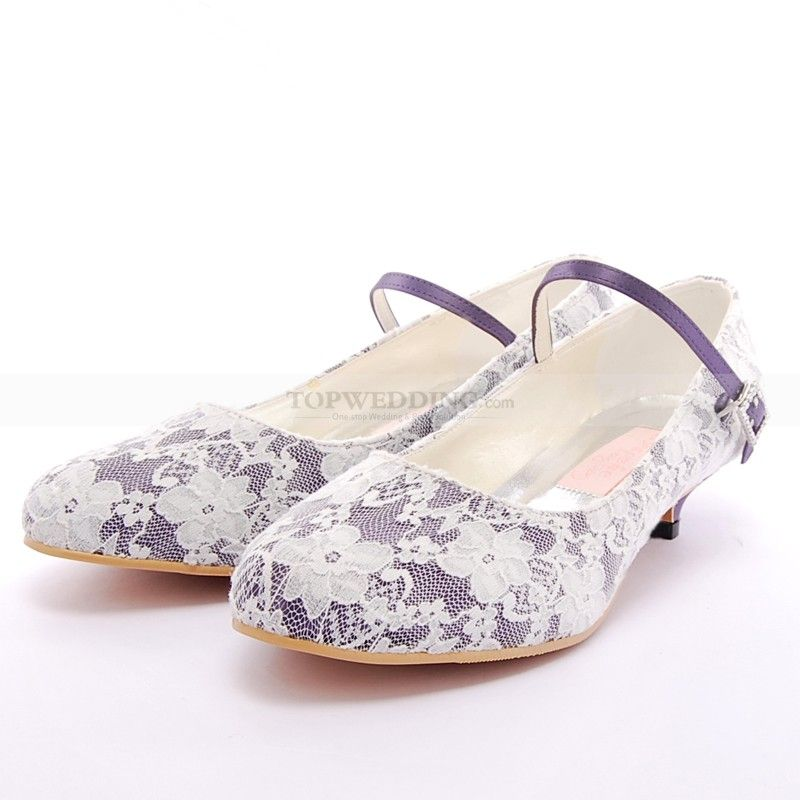 Round Toes Lace Overlaid Low Heel Wedding Shoes In Purple