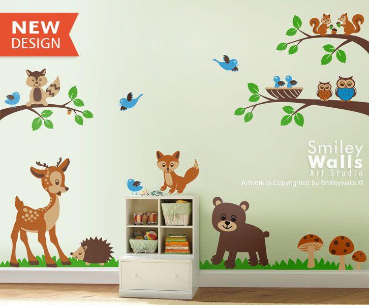 Wandtattoos Wandtattoo Waldtiere Kinderzimmer Baby Raum Ein Designerstuck Von Kindergarten Wandtattoos Wandtattoo Kinderzimmer Tiere Wandtattoos Babyzimmer