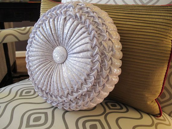 Vintage Silver Tufted Pinwheel Pillow by PortlandiaRevibe on Etsy