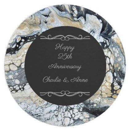 sc 1 st  Pinterest & Bold Black 25th Anniversary Paper Plates | 25th anniversary