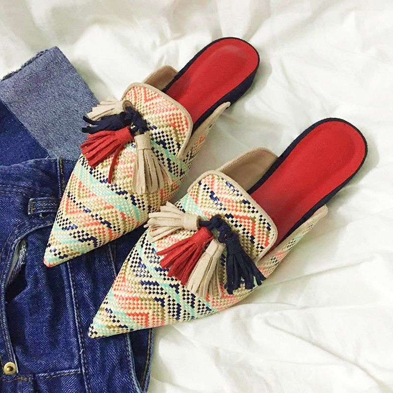 Cheap slippers women, Buy Quality women slippers directly from China slippers toe Suppliers: Hanbaidi Rattan grass Pointed Toe Flat Slippers women fringe flip flops knitted Tassel mules Lazy beach Shoes women slides Shoes