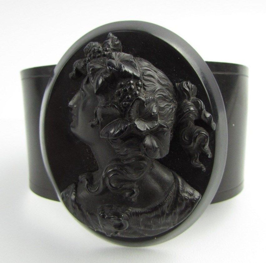Antique VICTORIAN Deeply Carved VULCANITE Oval CAMEO Cuff Bangle Bracelet