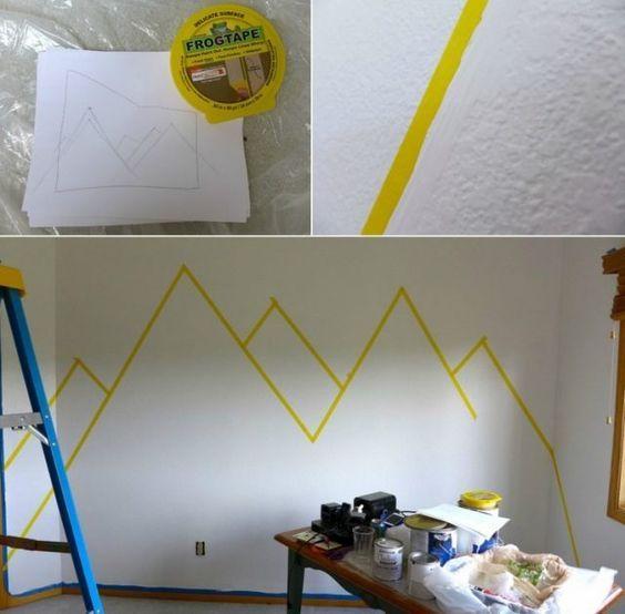 Dessin montagne stylis en couleur pour d corer les murs de la chambre d co deco murale - Couleur mur chambre bebe ...