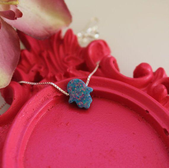Hamsa opal necklace 13X11mm Blue Fatima Hand opal by GivonJewelry