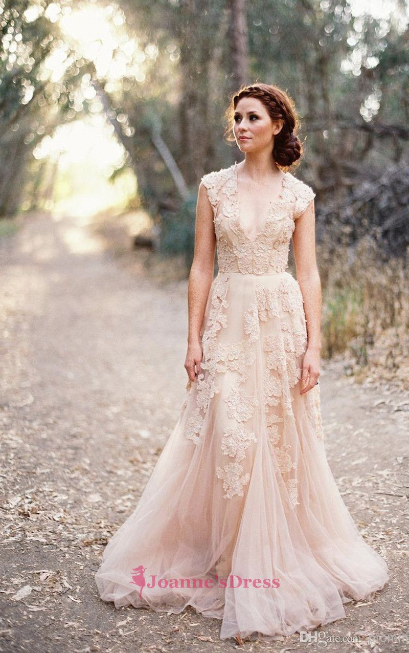 Floor length applique cap sleeves champagne v neck bridal gown liz