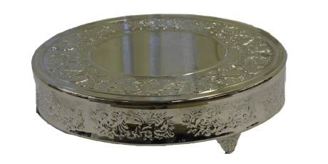 "Silver cake stands, 18"" and 22"" diameters, great rental pricing!"