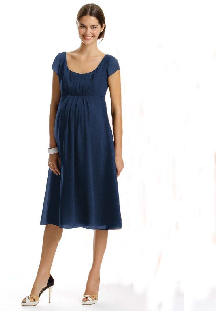 Chiffon scoop empire a line tea length maternity bridesmaid dress wedding dress online shop chiffon scoop neckline a line style with cap sleeves maternity bridesmaid dress ombrellifo Choice Image