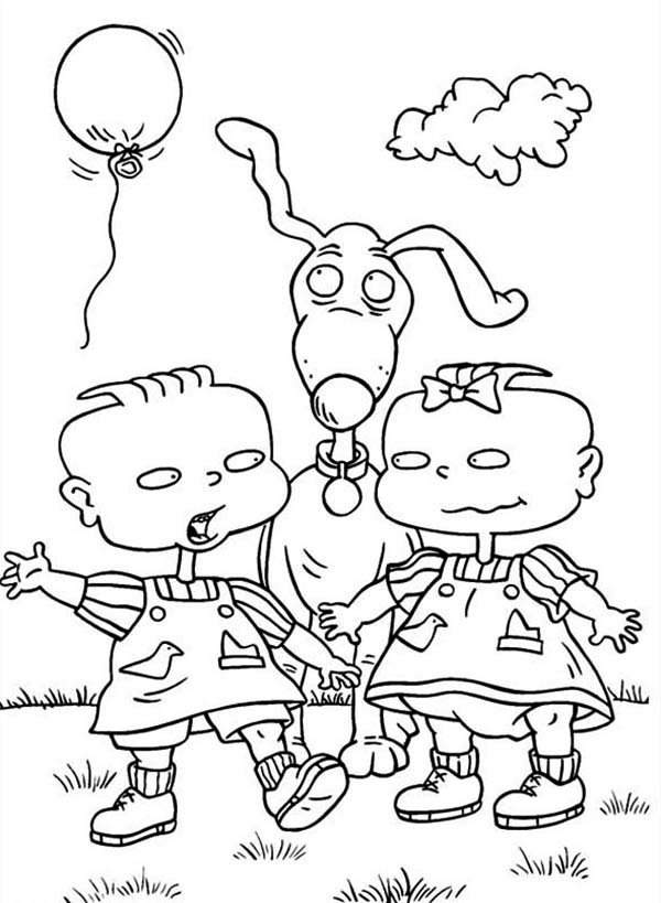 Phil And Lil Release A Balloon In Rugrats Coloring Page ...