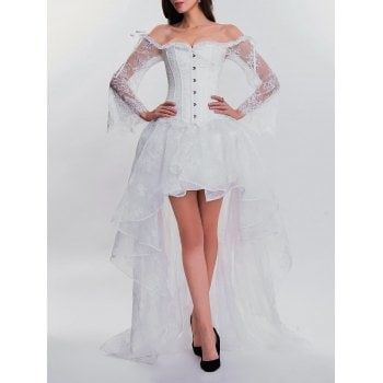 share  get it free  high low two piece corset dressfor