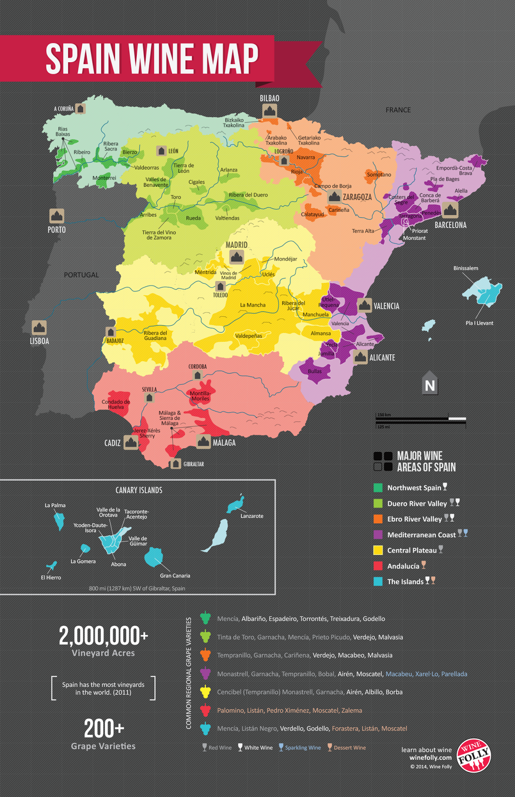 Map Of Spain To Label.Spain Wine Map Wine Cognac Wisky Wine Folly Map Of Spain
