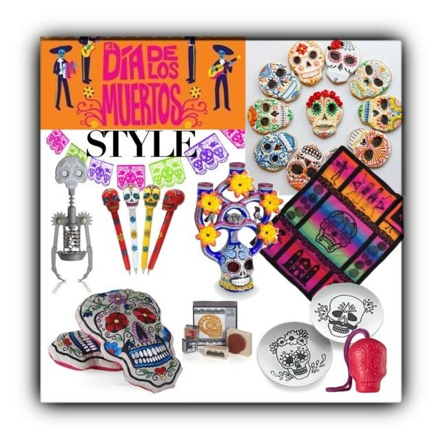 """""""Dia de los Muertos Style"""" by synkopika ❤ liked on Polyvore featuring interior, interiors, interior design, home, home decor, interior decorating, Crate and Barrel, NOVICA and Dayofthedead"""