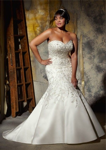 Gorgeous Mermaid Sweetheart Embroidered Satin Beaded Plus Size Corset Wedding Dress