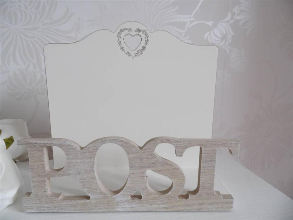 SHABBY COUNTRY STYLE CHIC CREAM AND NATURAL POST LETTER  RACK with HEART DETAIL