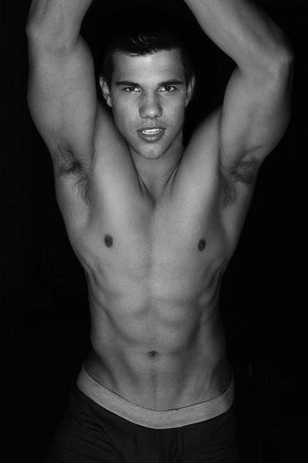 Taylor Lautner.  (You have to admit, the guys got a nice bod.)  Disclaimer: I DID make sure he was over 18 before posting this. He's 20.