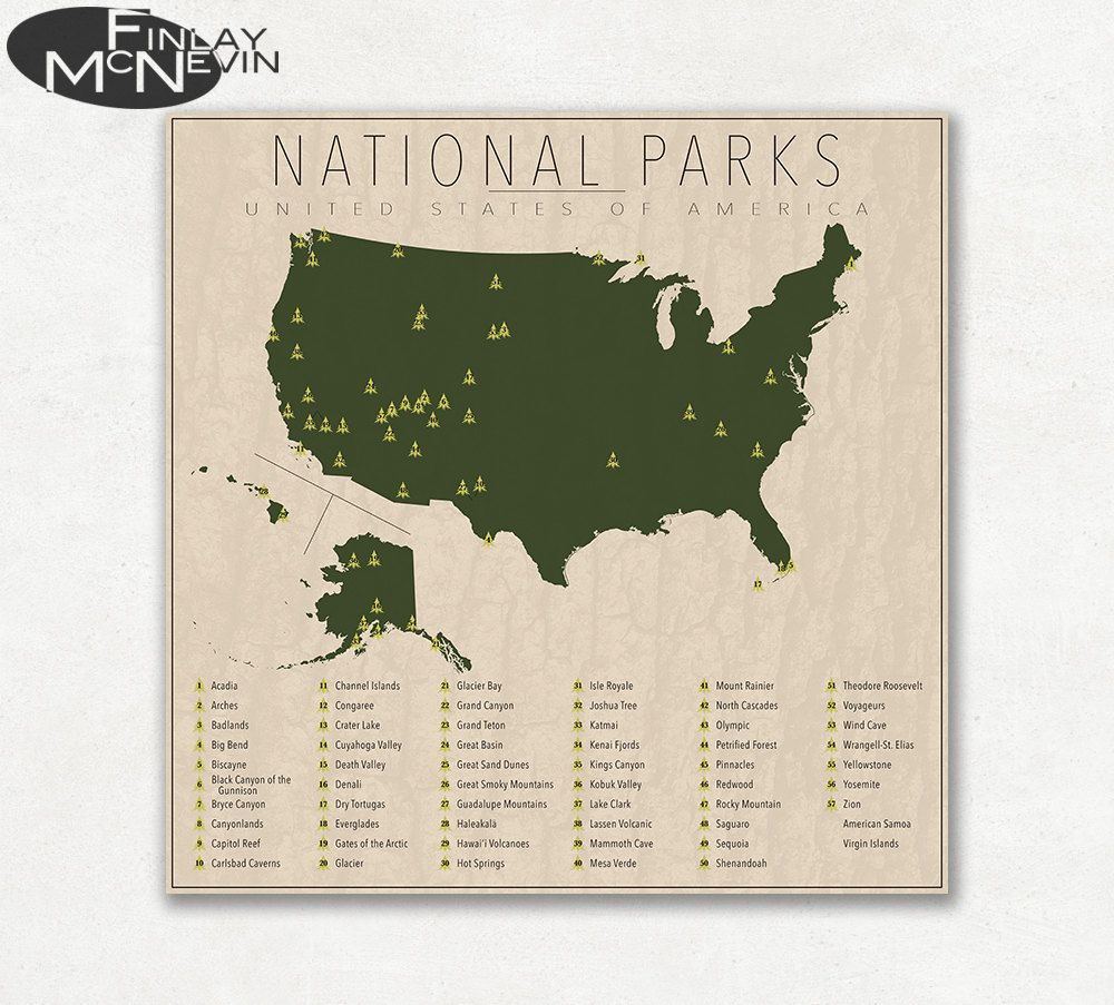 NATIONAL PARKS OF THE UNITED STATES Map of the United States