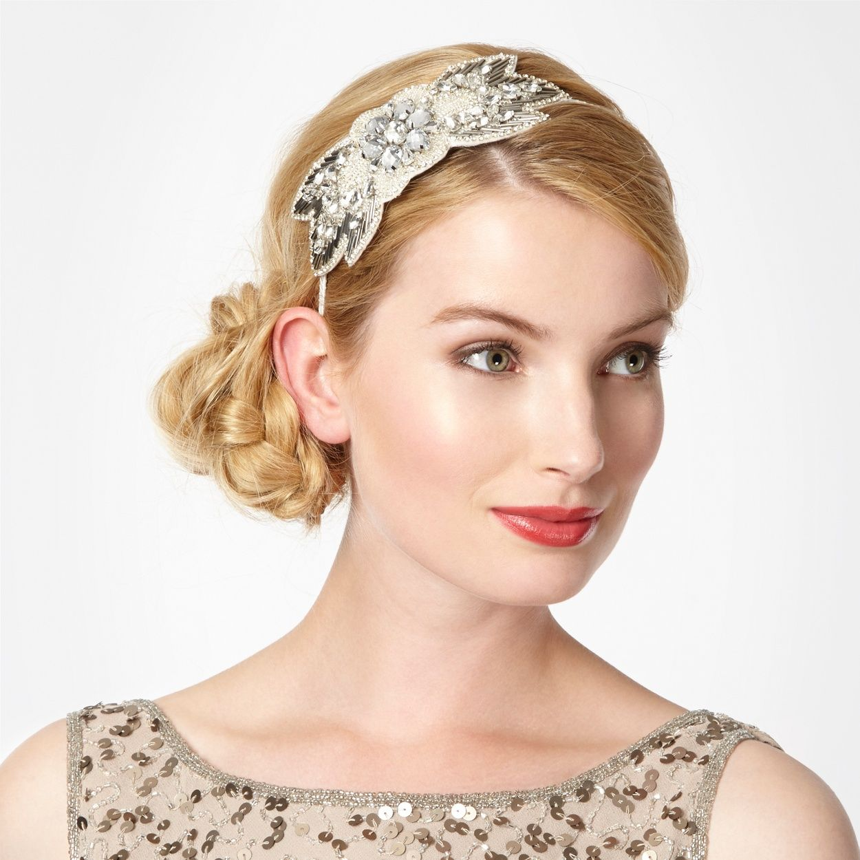 This silver embellished headband would look great with a vintage