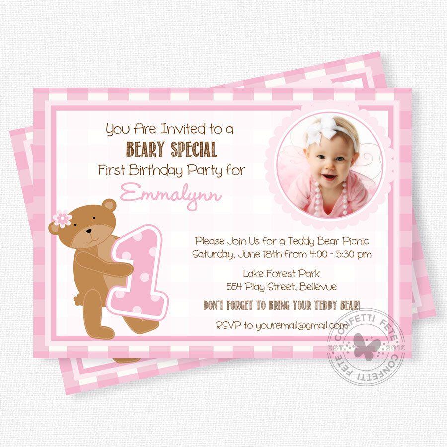 Teddy Bear Picnic Invitation, Bear Birthday Invitation, Teddy Bear ...
