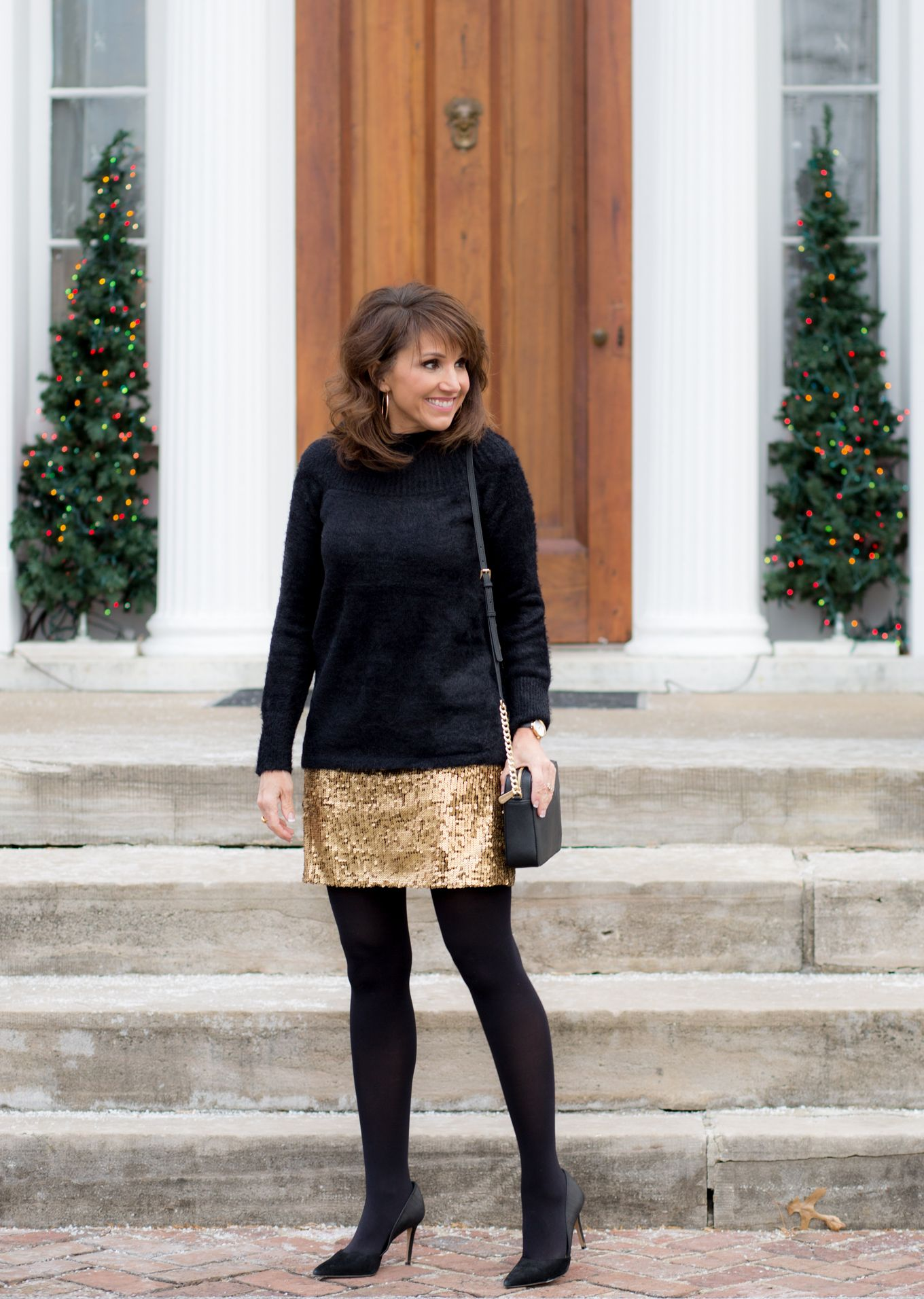 25 Days of Winter Fashion Gold Sequin Skirt under $50 - Casual christmas party outfit, Casual party outfit, Work party outfits, Christmas outfits women, Christmas party outfit casual, Christmas outfit casual - I love dressing up during the holiday season and is there anything better than gold sequins  My sequin skirt fits truetosize and is less than $50