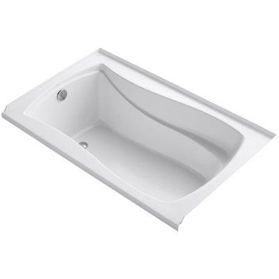 "Kohler Mariposa Alcove 60"" x 36"" Soaking Bathtub Finish: White"