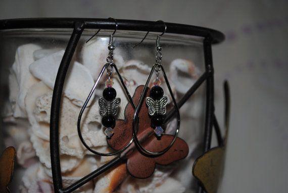 Butterfly dangle hoop earrings by Michellesdream on Etsy, $7.00