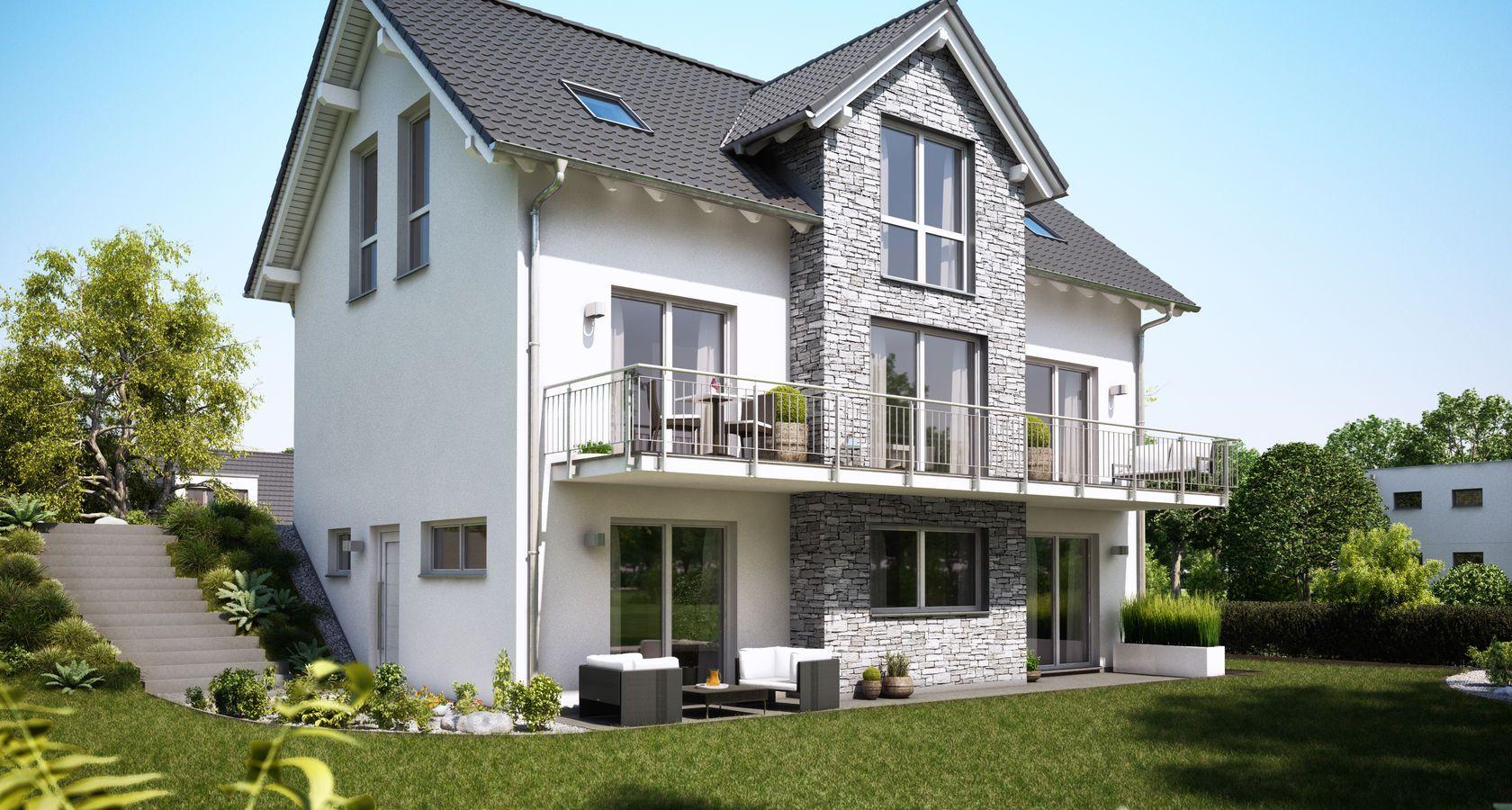 massivhaus kern-haus familienhaus aura mit keller gartenseite ... - Haus Bauen Ideen