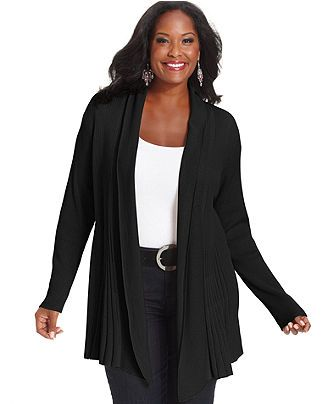 Charter Club Plus Size Long-Sleeve Textured Cardigan - Plus Size Sweaters - Plus Sizes - Macy's