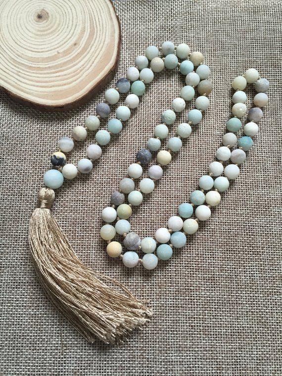 Matte Amazonite Mala Necklace Hand Knotted Mala 108 Bead Mala