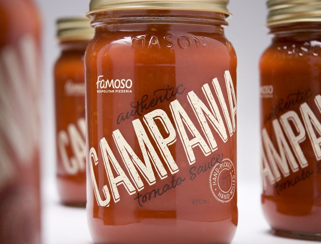 Beautiful mason jar / hand-written typography packaging for Famoso's Campania tomato sauce. More at http://lovelypackage.com/famoso-campania/