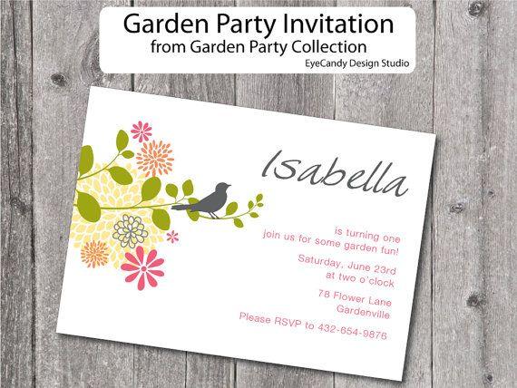 Garden Party Birthday Printable Invitation - Garden Party Collection - EyeCandy Design Studio on Etsy, $10.18