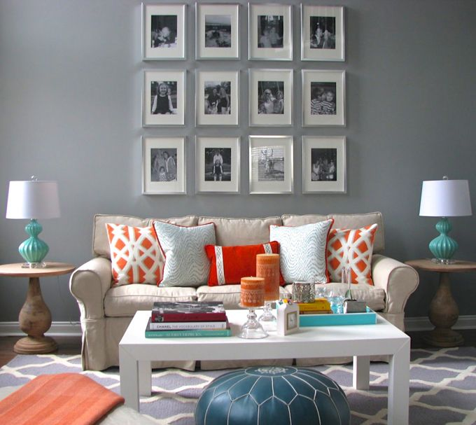 Benjamin Moore Colors For Your Living Room Decor: Benjamin Moore STORM. Turquoise And Orange Family Room