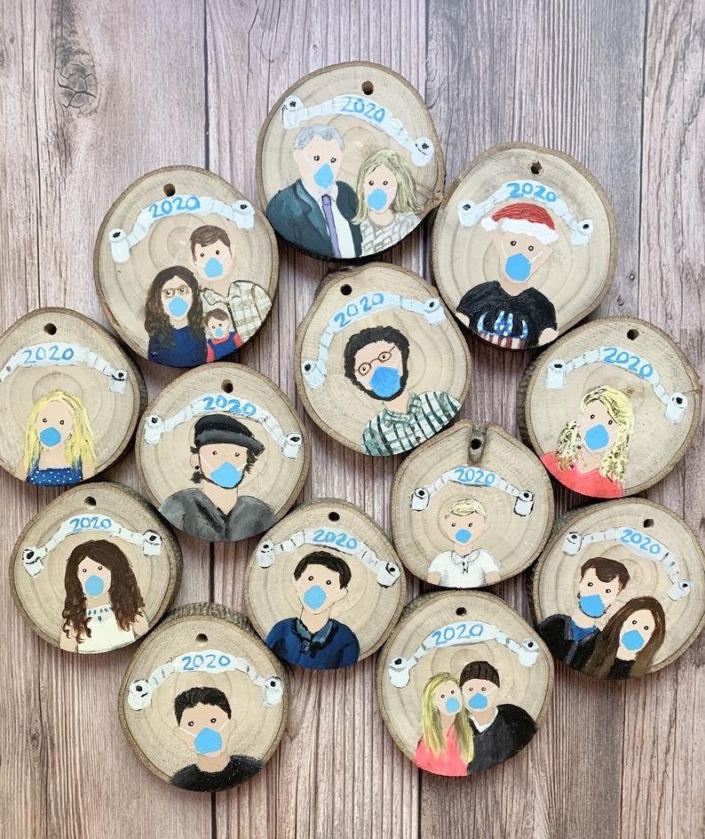 2020 Christmas ornament hand painted wood slice family