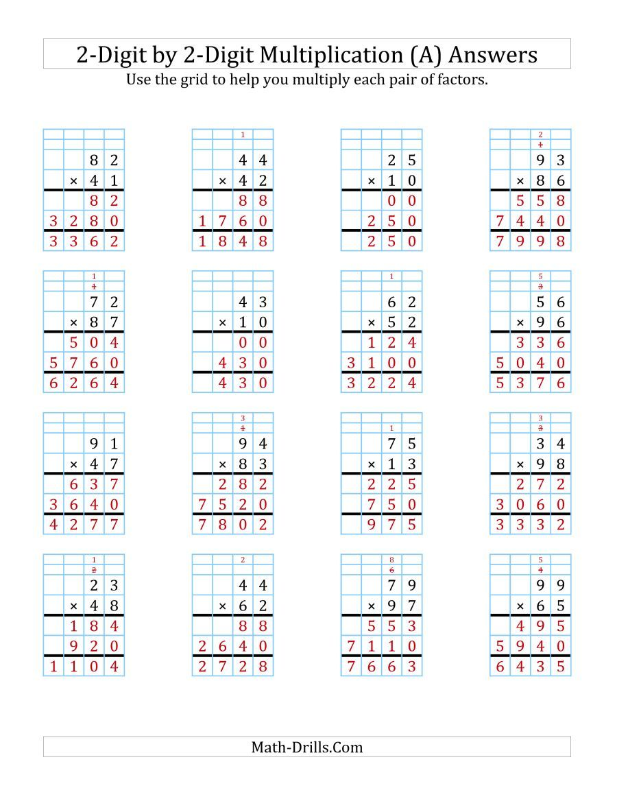 The 2 Digit By 2 Digit Multiplication With Grid Support A Math Worksheet Page 2 Multiplication Worksheets Multiplication Printable Math Worksheets [ 1165 x 900 Pixel ]