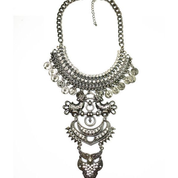 Gypsy Princess Statement Necklace in silver (38 AUD) ❤ liked on Polyvore featuring jewelry, necklaces, statement necklaces, silver bib statement necklace, silver jewelry, silver necklace and silver jewellery