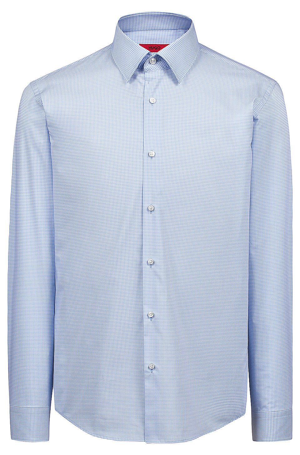 bd6b42c8 HUGO BOSS Regular-fit easy-iron shirt in Vichy-check cotton - Light Blue  Shirts from HUGO for Men in the official HUGO BOSS Online Store free  shipping