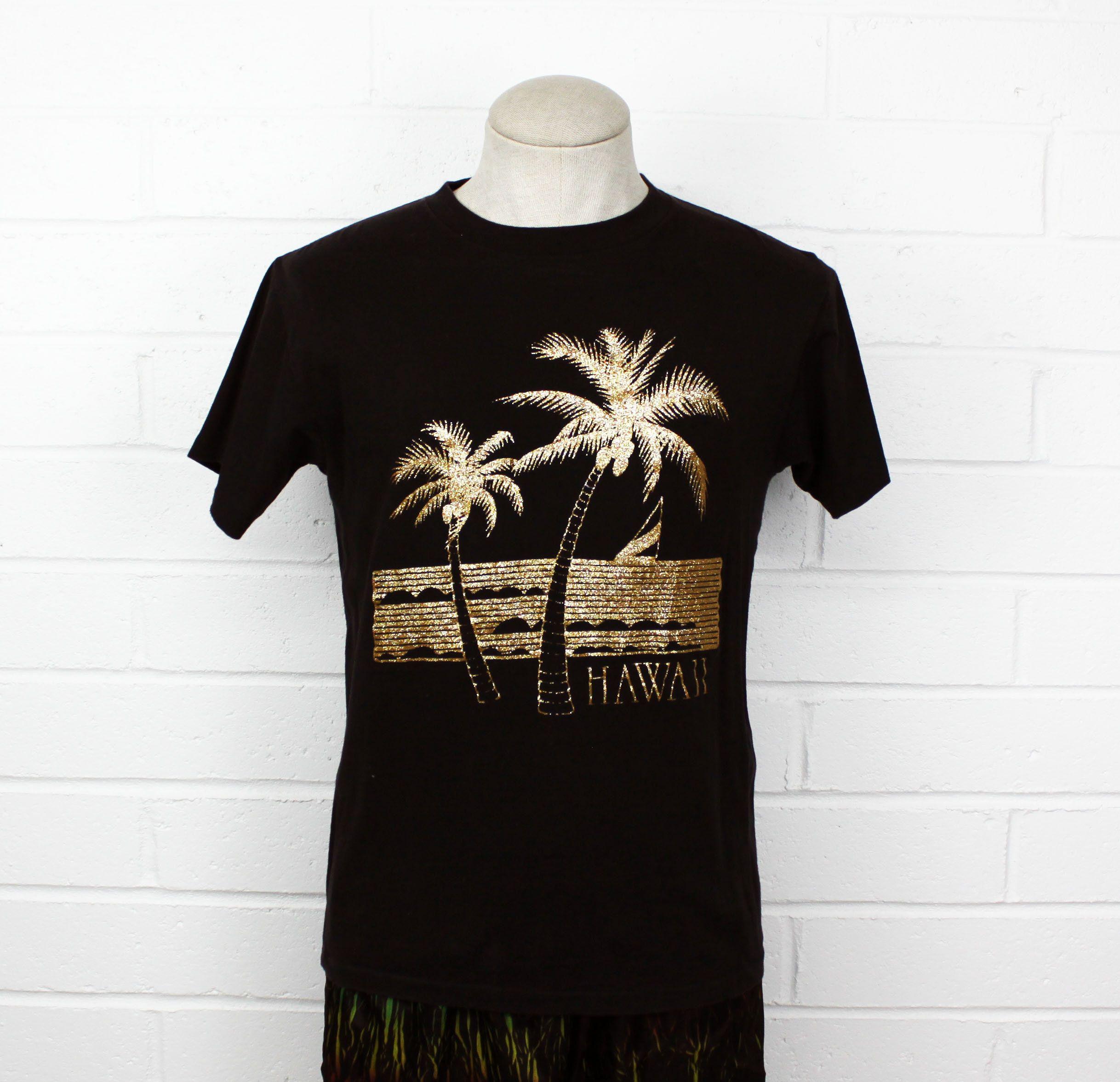 Vintage 90s Hawaii Gold Dust Shirt Black Medium Palm Trees Ocean Scene Souvenir Hawaiian T Shirt By Nack4v Vintage Hawaiian Shirts Black Shirt Hawaiian Tshirts