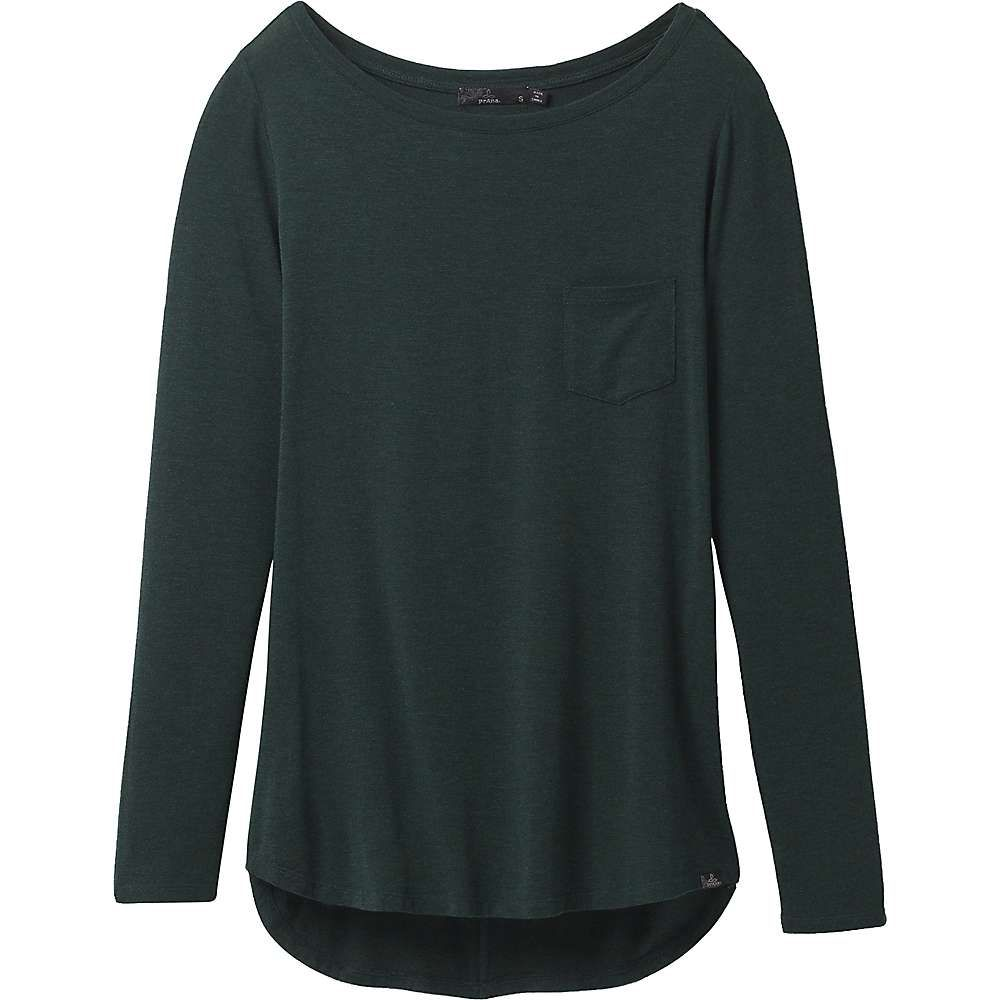 Features of the Prana Women's Foundation Long Sleeve Tunic Lightweight stretch modal jersey Boat neck long sleeve pocket tee silhouette with back seam details Stretch fabrication extends, expands and contracts to move with you allowing for ultimate flexibility during any sport, activity or movement
