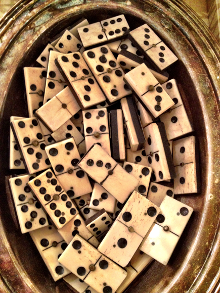 Vintage Horn and Bone Dominos Domino