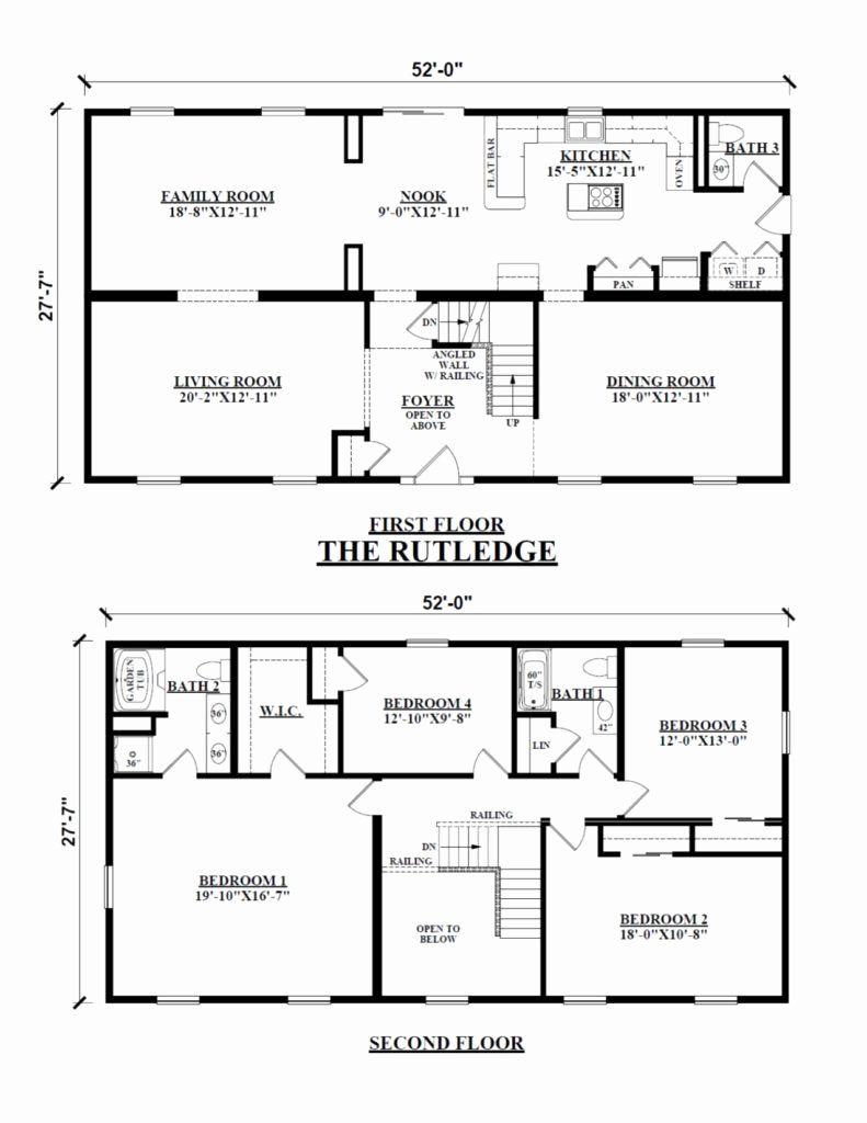 4 Bedroom Rectangular House Plans Inspirational Two Story Floor Plans In 2020 Square House Plans Rectangle House Plans Two Story House Plans