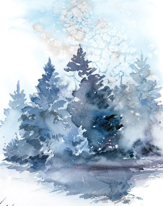 Pine Trees Landscape Painting Winter Landscape Original Etsy