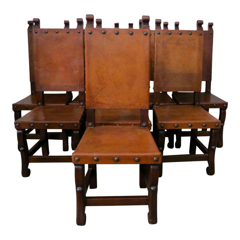 Spanish Walnut Leather Dining Chairs C 1920 Set Of 8 Dining Chairs Leather Dining Chairs Dining Chair Set