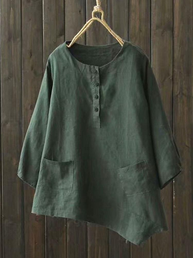 Irregular blouses in pure color