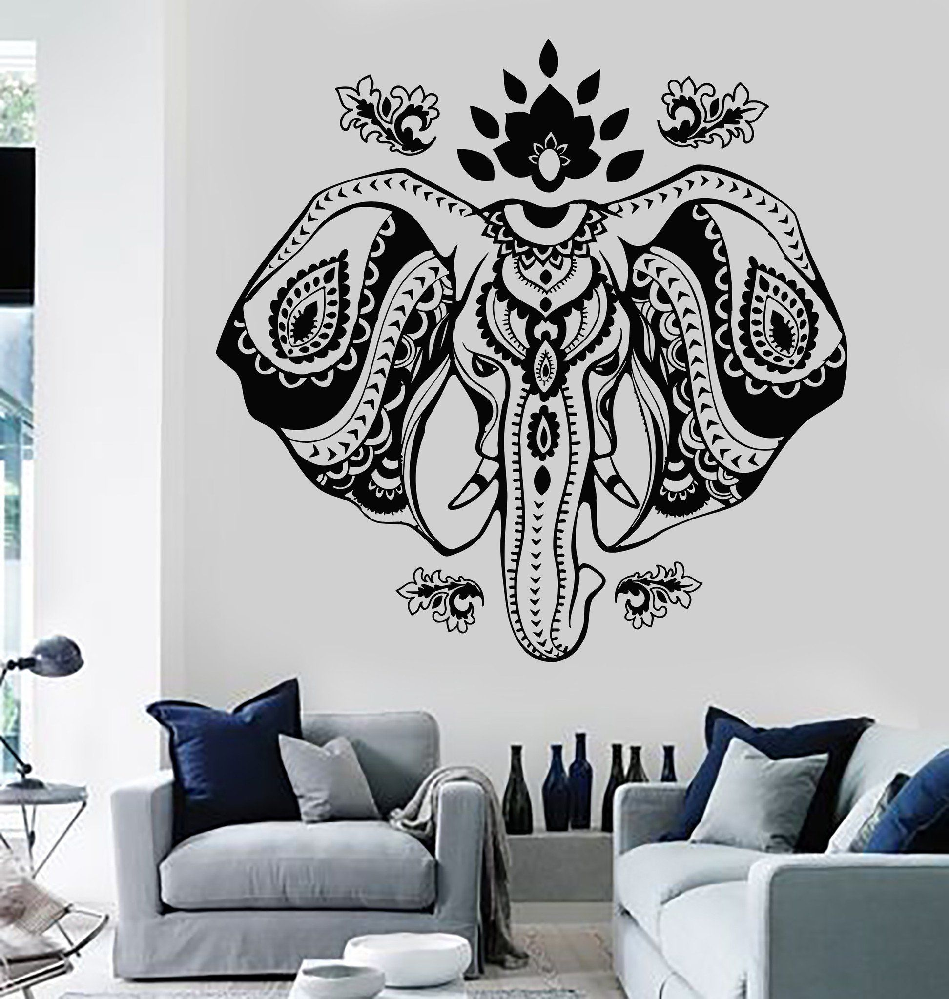 Vinyl Wall Decal Indian Elephant Head Lotus Hindu Symbol Stickers