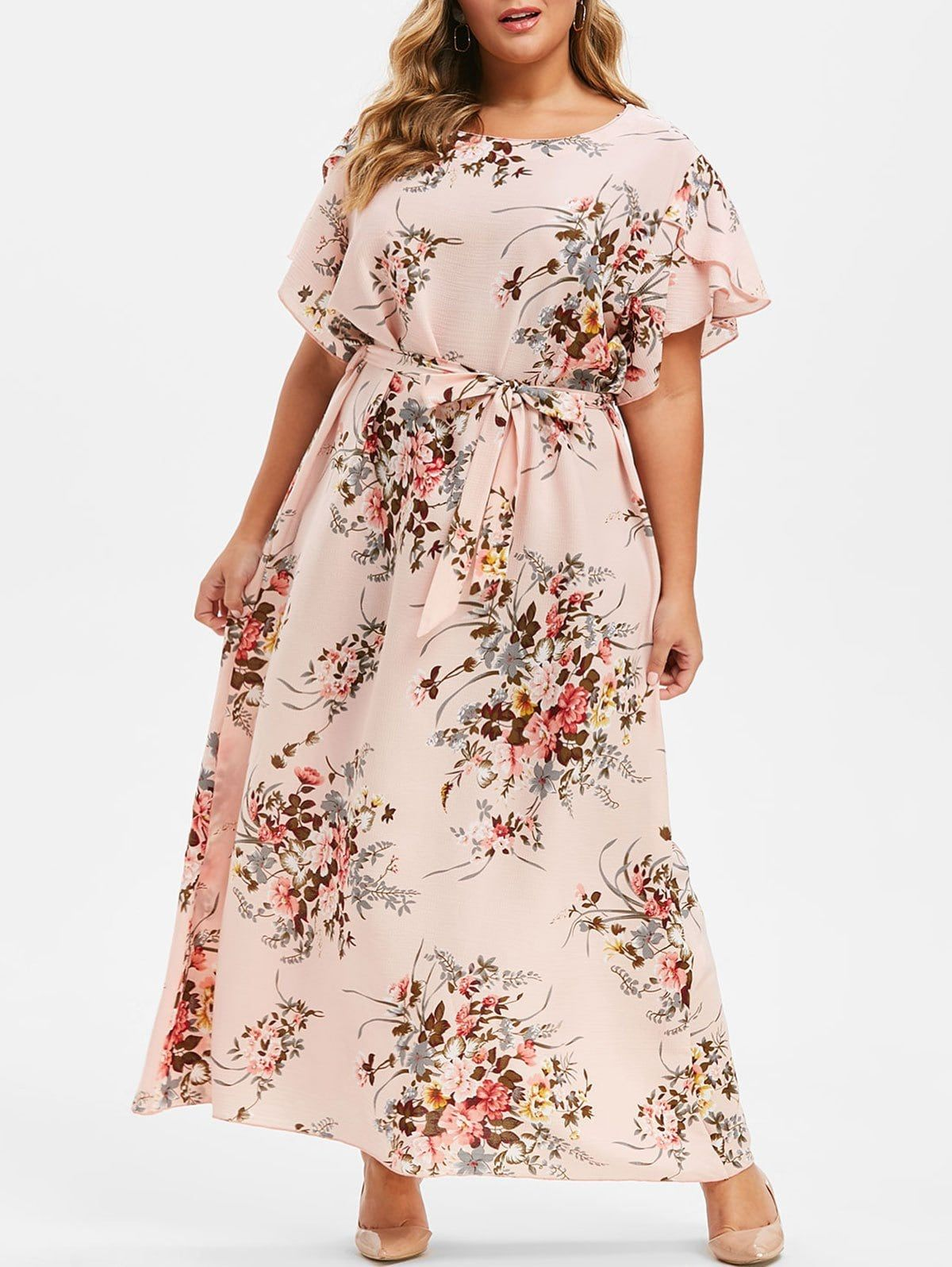 Plus Size Floral Tulip Sleeve Maxi Dress Maxi Dress With Sleeves Spring Dresses Women Dress For Short Women