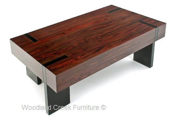 A Linear Approach And A Generously Over Sized Top Design Give Our Wood  Block Coffee Table A Modern Rustic Appeal. Four Stainless Steel Legs  (brusheu2026