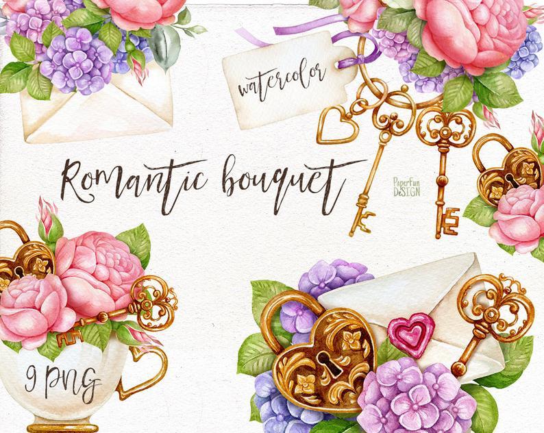 Digital Watercolor Romantic Bouquet Clip Art. Printable