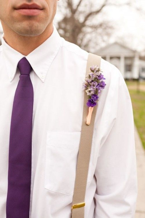 c1f07390e0c4 Classy look! White shirt, tan suspenders, purple tie! Purple flower  boutonniere.