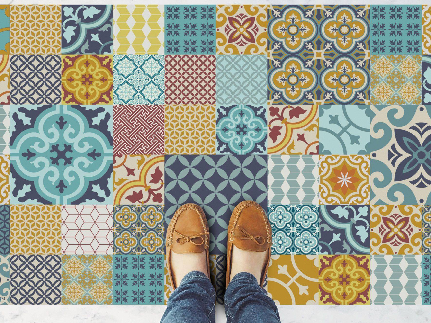 Floor Mat Rug Carpet Linoleum P V C Vinyl Colourful Geometric Tiles Vintage Bathroom Hall Kitchen Room Colorfu Vinyl Flooring Vinyl Flooring Kitchen Flooring