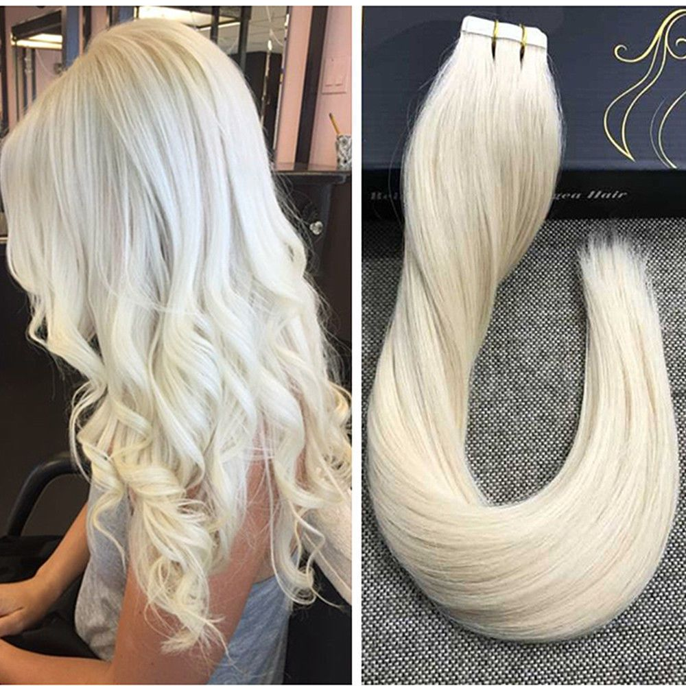 2018new 100gram Tape In Solid Color Platinum Blonde Remy Human